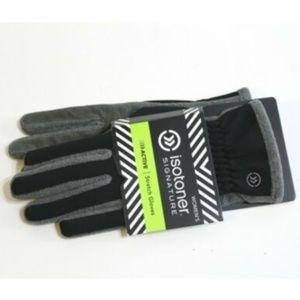 Isotoner Gloves Black Gray Lycra Stretch One Size